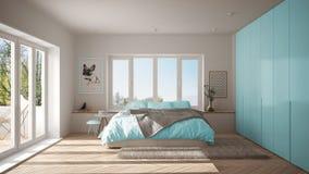 Chambre à coucher minimaliste blanche et bleue scandinave avec la fenêtre panoramique, le tapis de fourrure et le parquet en arêt illustration de vecteur