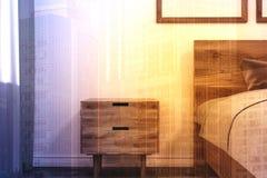Chambre à coucher minimalistic blanche, table modifiée la tonalité Image libre de droits