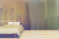 Chambre à coucher minimalistic noire modifiée la tonalité Image libre de droits