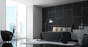 Chambre à coucher moderne avec l'image noire et blanche du rendu 3d Image libre de droits