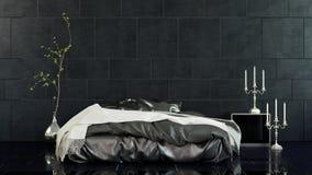 Chambre à coucher moderne avec le lit de futon et les murs foncés Photo stock
