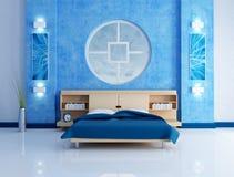Chambre à coucher moderne bleue Images stock