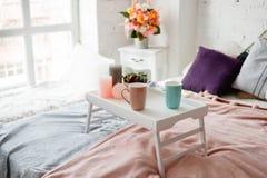 Chambre à coucher moderne dans des couleurs en pastel Photos stock