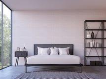 Chambre à coucher moderne de grenier avec l'image de rendu de la vue 3d de nature Photographie stock