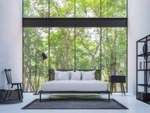 Chambre à coucher moderne de grenier avec l'image de rendu de la vue 3d de nature Images libres de droits