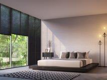 Chambre à coucher moderne de grenier avec l'image de rendu de la vue 3d de nature Image stock