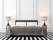 Chambre à coucher moderne de vintage avec l'image noire et blanche du rendu 3d Images libres de droits