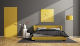 Chambre à coucher moderne grise et jaune illustration stock