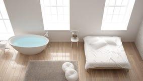Chambre à coucher moderne industrielle classique avec de grands fenêtres, mur de briques, plancher de parquet et baignoire, conce illustration stock