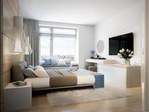 Chambre à coucher moderne lumineuse et confortable Photographie stock