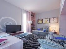 Chambre à coucher moderne pour deux enfants Image libre de droits