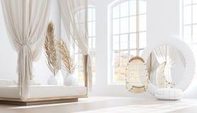 Chambre à coucher ouverte avec le salon, style de Bohème scandinave illustration libre de droits