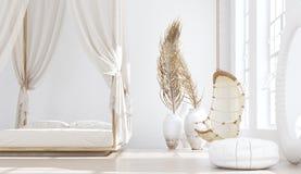 Chambre à coucher ouverte avec le salon, style de Bohème scandinave illustration stock