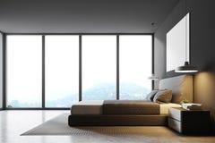 Chambre à coucher panoramique grise, vue de côté illustration de vecteur