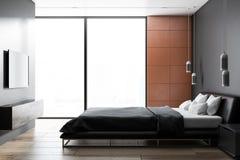 Chambre à Coucher Grise Et Orange Moderne Illustration Stock ...