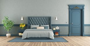 Chambre à coucher principale bleue dans le rétro style illustration stock