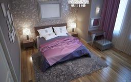 Chambre à coucher principale dans le style de fusion Images stock