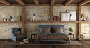 Chambre à coucher principale dans le style rustique Photo stock