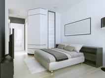 Chambre à coucher principale luxueuse et spacieuse Images stock