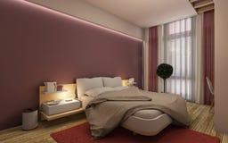 Chambre à coucher rouge Images libres de droits