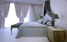 Chambre à coucher royale vide dans la conception néoclassique image libre de droits