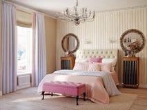 Chambre à coucher rustique moderne classique traditionnelle de la Provence images stock