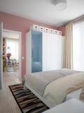Chambre à coucher scandinave moderne contemporaine urbaine Photo libre de droits