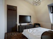 Chambre à coucher scandinave moderne contemporaine urbaine de grenier photographie stock libre de droits