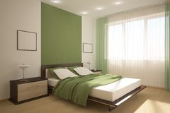 Chambre à coucher verte illustration stock. Illustration du ...