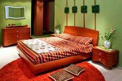 Chambre à coucher verte images libres de droits