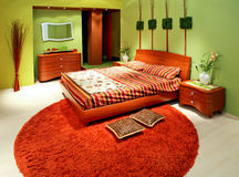 Chambre à coucher verte grande Photo libre de droits