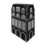 Chambre anglaise type Architecture de l'icône simple de maison dans le noir Images stock