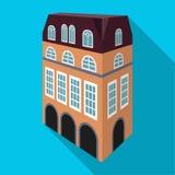 Chambre anglaise type Architecture de l'icône simple de maison en Web plat d'illustration d'actions de symbole de vecteur de styl Image stock