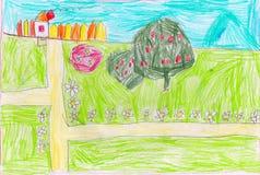 Chambre, arbres, routes et champs, peinture de childs illustration stock