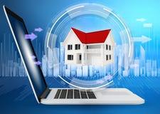 Chambre avec le toit rouge au centre de virtuel numérique Image libre de droits