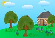Chambre avec peu de jardin Photo libre de droits