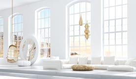 Chambre ? coucher ouverte avec le salon, style de Boh?me scandinave illustration stock