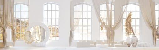 Chambre ? coucher ouverte avec le salon, style de Boh?me scandinave illustration de vecteur