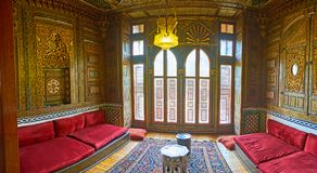 Chambre d'amis dans le palais de réception de Manial, le Caire, Egypte Photo stock