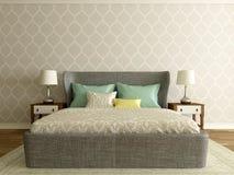 Chambre d'hôtel, intérieur de chambre à coucher, pièce moderne Image libre de droits