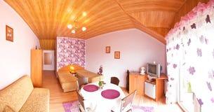 Chambre d'hôtel violette Images libres de droits