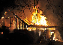 Chambre dans la fin d'incendie vers le haut Images libres de droits