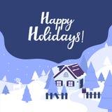 Chambre dans les montagnes Paysage d'hiver avec des sapins et des cerfs communs Bonnes fêtes lettrage de main pendant Noël et la  illustration de vecteur