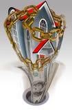 Chambre dans les réseaux et le downdrain d'argent Photo stock
