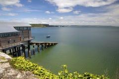 Chambre de canot de sauvetage chez Tenby, Pembrokeshire, Pays de Galles, R-U Photos stock