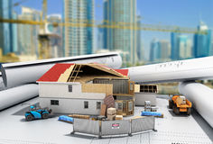 Chambre de concept de construction dans la construction tridimensionnelle Photo libre de droits