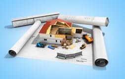 Chambre de concept de construction dans la construction tridimensionnelle Photographie stock
