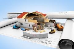 Chambre de concept de construction dans la construction tridimensionnelle Photographie stock libre de droits