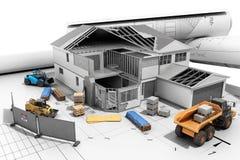 Chambre de concept de construction dans la construction tridimensionnelle Photos libres de droits