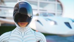 Chambre de contrat à terme Voiture futuriste de vol avec la femme de marche rendu 3d Image stock